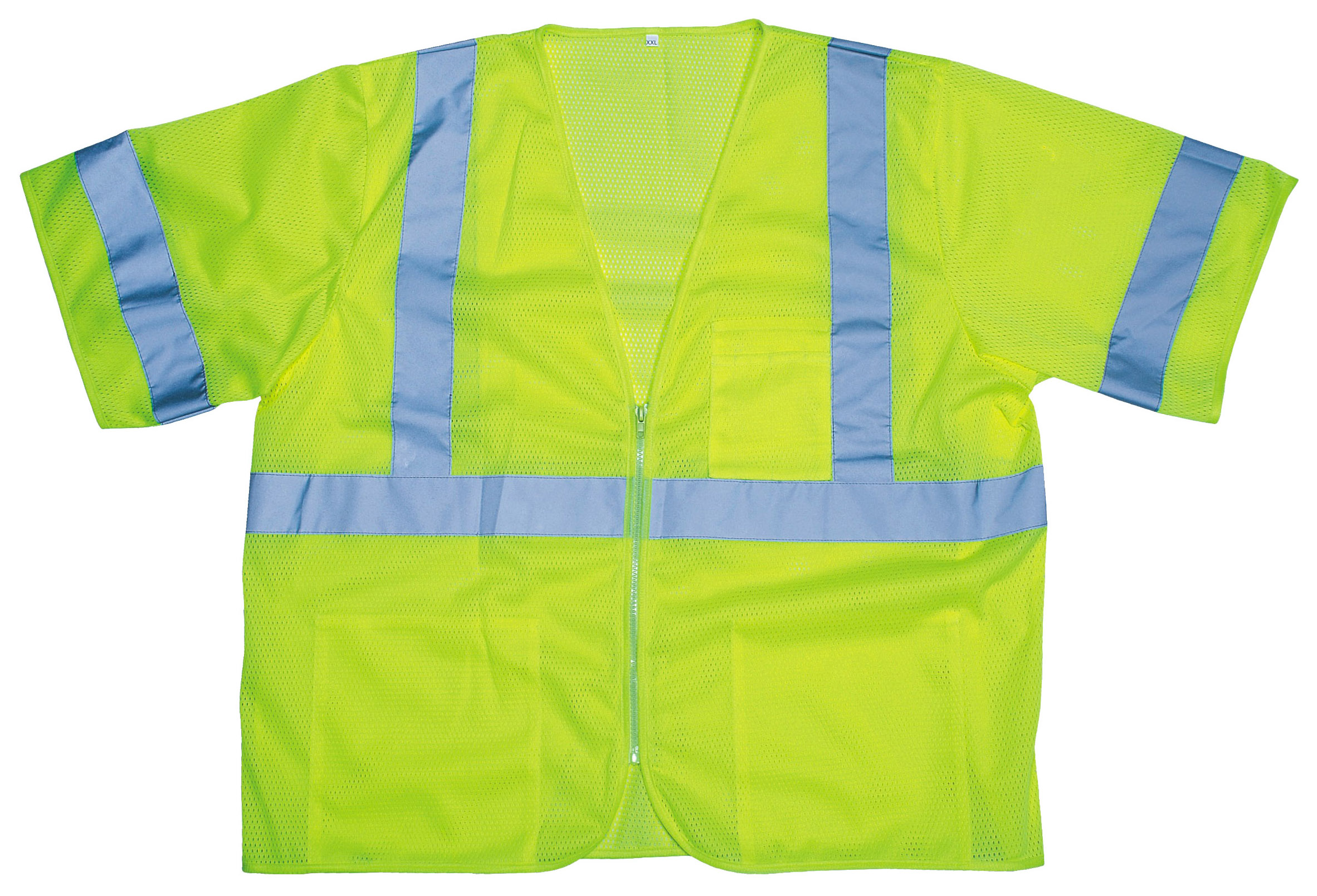 V3001 Cor-Brite Type R, Class 3 High Visibility Vest, Polyester Mesh, Lime, XXX - Large - Power Concrete Screed Job Package