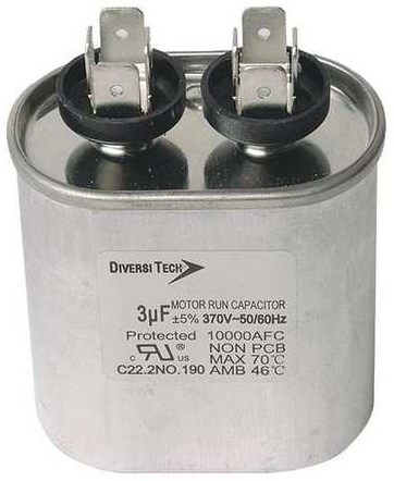 370 VAC Oval Shape Motor Run Capacitor, 45 uF Rated Capacitor, 50/60 Hz, Single Capacitance, Metal Can - Single Run Capacitors